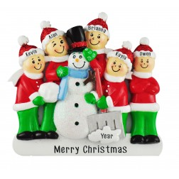 Image for Snowman Making Family of 5 Personalized Christmas Ornament