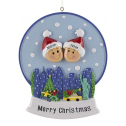 Image of Snow Globe Family of 2 Personalized Christmas Ornament