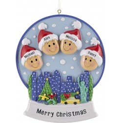 Image of Snow Globe Family-4 Personalized Christmas Ornament