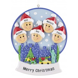 Image of Snow Globe Family of 5 Personalized Christmas Ornament