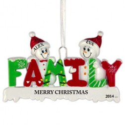 Snow Family of 2 Personalized Christmas Ornament