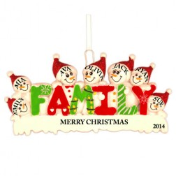Snow Family of 7 Personalized Christmas Ornament