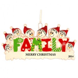 Snow Family of 8 Personalized Christmas Ornament