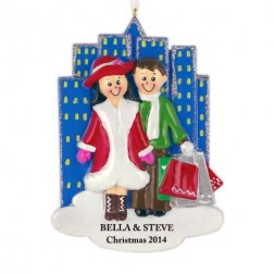 Shopping City Family of 2 Personalized Christmas Ornament