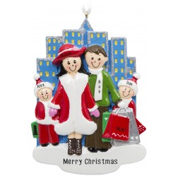 Image of Shopping City Family of 4 Personalized Christmas Ornament