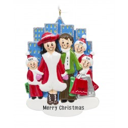 Image of Shopping City Family of 5 Personalized Christmas Ornament