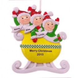 Yellow Family of 3 Taxi Sleigh Personalized Christmas Ornament