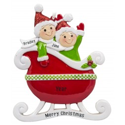 Image of Taxi Sleigh Family of 2 Red Personalized Christmas Ornament