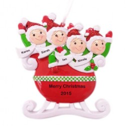 Red Family of 4 Taxi Sleigh Personalized Christmas Ornament