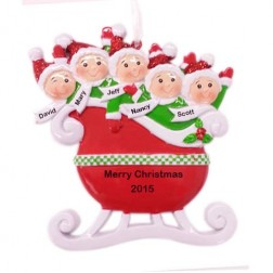 Red Family of 5 Taxi Sleigh Personalized Christmas Ornament