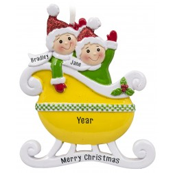 Image of Taxi Sleigh Family of 2 Yellow Personalized Christmas Ornament