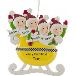Image of Taxi Sleigh Family of 4 Personalized Christmas Ornament