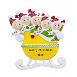Image for Taxi Sleigh Family of 5 Personalized Christmas Ornament
