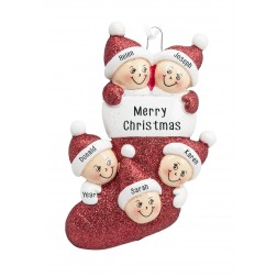 Image for Stocking Family of 5 Personalized Christmas Ornament