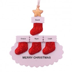 Stocking Tree Family of 4 Personalized Christmas Ornament