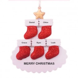 Stocking Tree Family of 5 Personalized Christmas Ornament