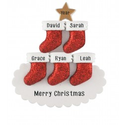 Image for Stocking Tree Family of 5 Personalized Christmas Ornament