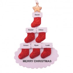 Stocking Tree Family of 6 Personalized Christmas Ornament