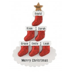 Image for Stocking Tree Family of 6 Personalized Christmas Ornament
