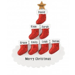 Image of Stocking Tree Family of 7 Personalized Christmas Ornament