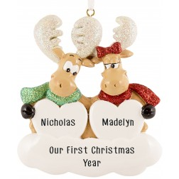 Image of Sweet Moose Family of 2 Personalized Christmas Ornament