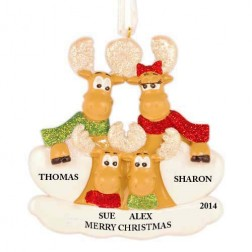 Sweet Moose Family of 4 Personalized Christmas Ornament