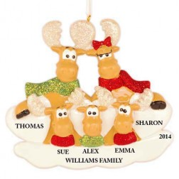 Sweet Moose Family of 5 Personalized Christmas Ornament