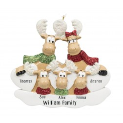 Image for Sweet Moose Family of 5 Personalized Christmas Ornament