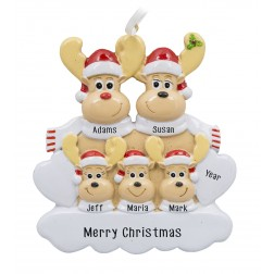Image for Sweet Reindeer 5 Family Personalized Christmas Ornament