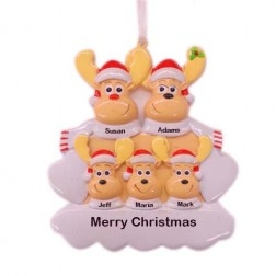 Sweet Reindeer 5 Family Personalized Christmas Ornament