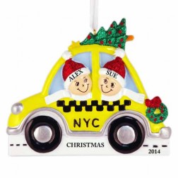 NYC Taxi Family of 2 Personalized Christmas Ornament