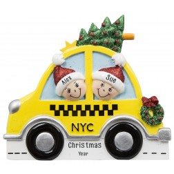Image of NYC Taxi Family of 2 Personalized Christmas Ornament