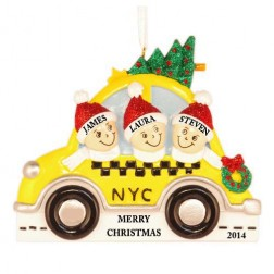 NYC Taxi Family of 3 Personalized Christmas Ornament