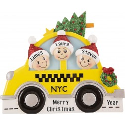Image for NYC Taxi Family of 3 Personalized Christmas Ornament