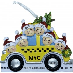 Image of NYC Taxi Family 6 Personalized Christmas Ornament