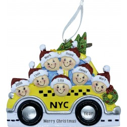 Image of NYC Taxi Family 7 Personalized Christmas Ornament