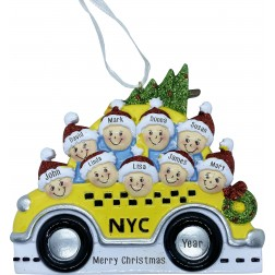 Image of NYC Taxi Family 9 Personalized Christmas Ornament