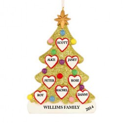 Tree Love Family of 8 Personalized Christmas Ornament