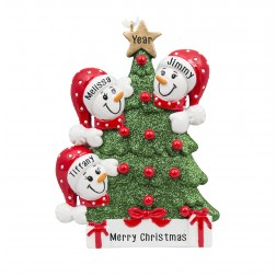 Image for Tree Snowman Family of 3 Personalized Christmas Ornament