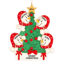 Tree Snowman Family of 4 Personalized Christmas Ornament