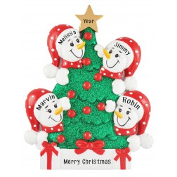 Image of Tree Snowman Family of 4 Personalized Christmas Ornament