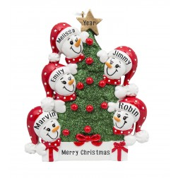 Image for Tree Snowman Family of 5 Personalized Christmas Ornament