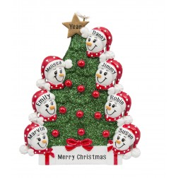 Image of Tree Snowman Family of 7 Personalized Christmas Ornament