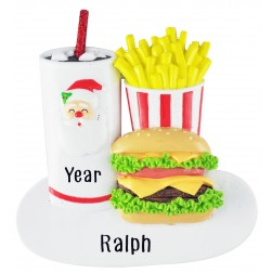 Image for Santa Burger Personalized Christmas Ornament