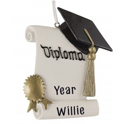 Image of Graduation With Diploma Personalized Christmas Ornament