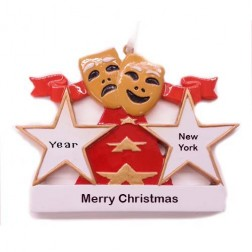 Image for Theater Masks Personalized Christmas Ornament
