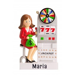 Image of 777 Jackpot Girl Personalized Christmas Ornament
