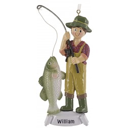 Image of Fishing Boy Personalized Christmas Ornament