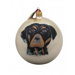 Rottweiler Glass Ball Christmas Ornament