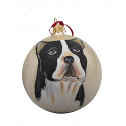 Boston Terrier Glass Ball Christmas Ornament